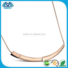 Rose Gold Plated Jewelry Stainless Steel Channel Necklace For Girls