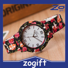ZOGIFT The Most Popular Alloy Geneva Watch Flower Printed Floral Watches For Women
