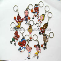 The basketball game shapes custom made soft pvc rubber duck keychain