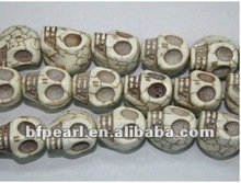 natural white skull carved turquoise beads