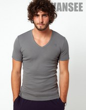 short sleeve V neck T shirt close fitting