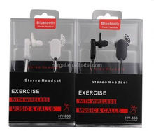 Stereo in-ear bluetooth earbud with microphone bluetooth helmet headset