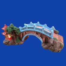 Resin Bridge with Pavilion Aquarium Fish Tank Crafts Ornaments