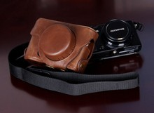 Wholesale Price Leather Digital Camera Case Bag for Olympus XZ-2 with Strap