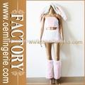 la buena calidad rosa sexy animal precioso conejito piel sintética un disfraz de carnaval