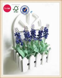 Flower arrange wall hanging wooden craft decorative fense