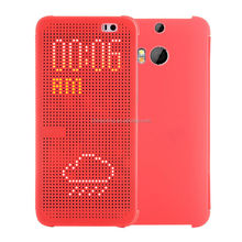 Hot Sale 2015 Latest Dot View Case Skin Auto sleep Smart Cover for HTC one M8