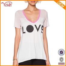 Bulk Wholesale 60% Cotton 40% Polyester V-Neck Short Sleeve Printed Women T Shirts
