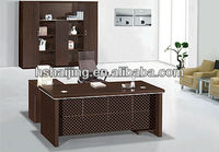L shape round design table top with side cabinet hanging drawer wooden MDF manager desk office executive table