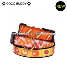 Flower pattern leather dog collar / digtal printing dog collar / high quality diamond leather dog collar
