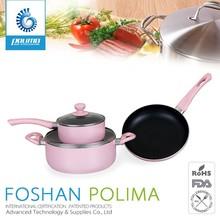 16pcs Pressed induction compatible porcelain pink enamel cookware wholesale