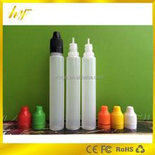 nontoxic LDPE plastic e liquid bottle 30ml pen shape e juice bottle with child proof cap and tamper evident ring