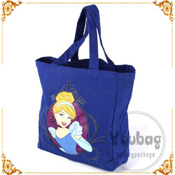 Deep blue cotton canvas bag with picture logo printing