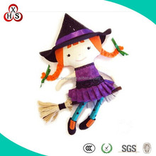Funny Customed Soft Wholesale Standing Halloween Witch Dolls For Gift