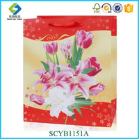 Flower Pattern Paper Promotional Latest Arrival Good Quality Eco-friendly Promotional Tote Bags