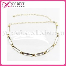 2015 women gold metal chain belt with rectangle crystal