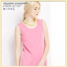 Pure color sleeveless dresses