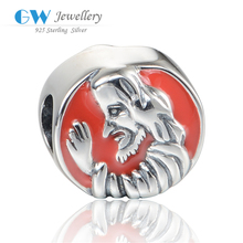 Red Witch Enamel Beads Jewelry For Easter Celebration 925 Silver Charm