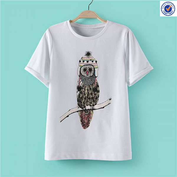 White short sleeve t shirt embroidery
