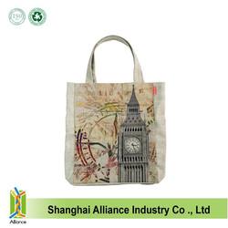 Fashion Retro Coffee handbags Cotton Linen Shopping Tote Bags Craft Shopping Bags