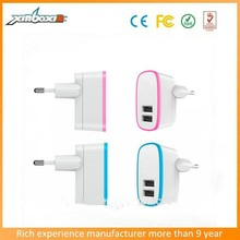Dual USB 5V 2.1A Usb Travel Charger Power Adapter EU Plug AC Charger-5V/2.1AMP