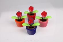 plastic dolls factory solar toy rose swing flip flap dancing flowers, car decorative gift sun doll factory wholesale