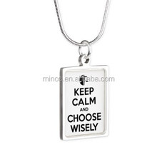 Divergent Keep Calm Choose Wisely Silver Cheap Necklace for Ladies