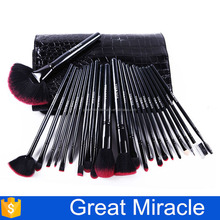 Black best nylon hair cosmet makeup brush for cosmetic brush set with leather bag