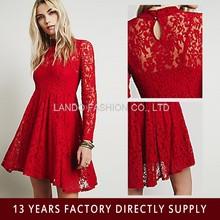 2015 new fashion wedding dress long sleeve red lace dress lace crochet evening dress