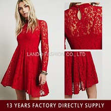 2015 new fashion wedding dress long sleeve red lace dress lace crochet evening dress