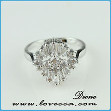 Dione latest design sterling silver ring with zircon diamond,Korean fashion platinum ring