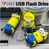 Cute Minions USB Flash Drive Yellow Man Cartoon Usb Memory Stick U Disk 4GB 8GB 16GB 32GB 64GB Real Capacity Pendrive Pen Drive
