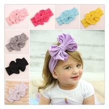 New 2015 Baby Girl Cotton bow Headwrap Floppy Big Bow Turban Headband for Newborn Hair Baby Top Knot HeadbandWH-1329