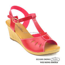 PVC outsole open toe ankle strap slingback summer sandals sexy mature wedges