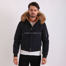 Wholesale Men's Clothing Fashion Dress Mens Varsity Down Hooded Jacket With Fur