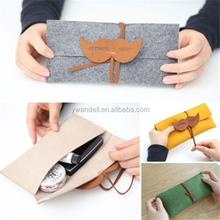 Roll Pen Pocket Pouch Organizer Cosmetic Makeup Bag Felt Pencil Case