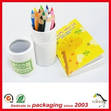 Custom round cardboard packaging paper pen tube with roll edge caps