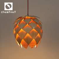 Contemporary carving wooden smart hotel ceiling pendant lamp home decor