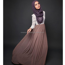 2015 New Design ! MU00014 Elegant High Neck Long Sleeve Appliqued Lace Flow Chiffon A Line Muslim Evening Dresses