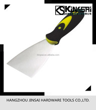 Stainless steel putty knife/scraper with bi-material handle