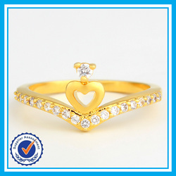 Cheap wholesale new design ladies' finger 2 gram gold ring fancy engagement ring