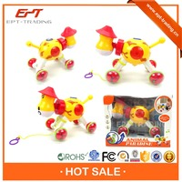 Top quality baby educational toy pull like cow toy with light and music