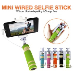 Mobile phone accessories cable wired selfie stick ,flexible no battery 13.5cm mini For s6 edge ,selfie stick monopod