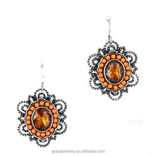 Antique Silver Plated Jewelry Resin Big Crystal Smoked Topaz Earrings For Party