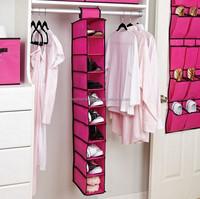 Candy color fabric 10 shelfs hanging closet organizer for shoes clothes foldable storage hamper
