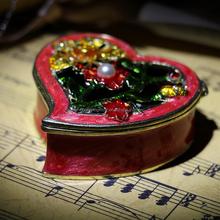 High quality handmade enamel pewter trinket box heart jewelry box