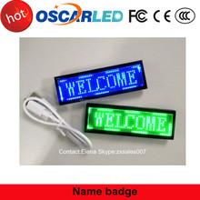 Popular rechargeable mini led name/promotion led name badge/mini led message display in Shenzhen Oscarled