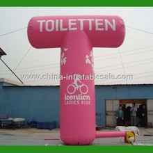 Customized Pink Advertising balloon arch stand H12-0154