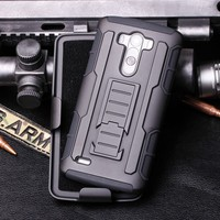 2015 Armor Shockproof Rugged Hybrid Impact Holster Hard Case Stand Cover For LG G3