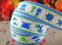 marine animal printed grosgrain ribbon